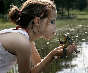 frog, girl, and kiss image