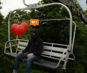 broken heart, gas mask, and heart image