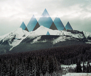 art, mountains, and trees image