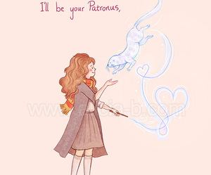 harry potter, patronus, and hermione image