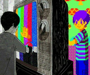 boy, tv, and art image