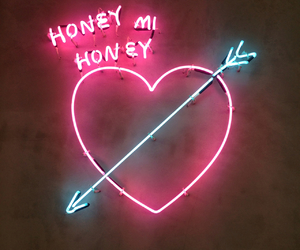 pink, neon, and heart image