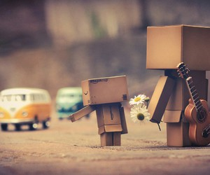 danbo, guitar, and flowers image