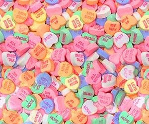 background, candy hearts, and cute image