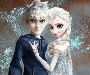 jelsa, elsa, and jack frost image