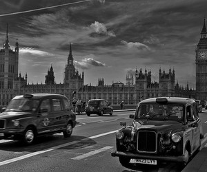 Big Ben, black and white, and city image