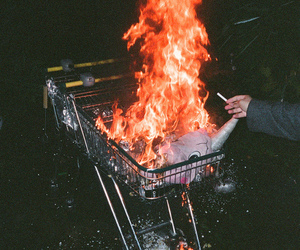 fire, grunge, and cigarette image