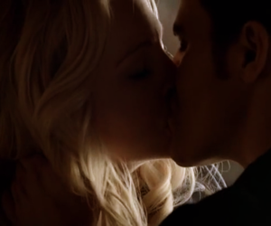 caroline, first kiss, and stefan image