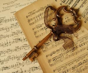 key, music, and vintage image