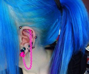 piercing, blue, and hair image