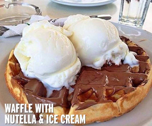 waffles, nutella, and food image