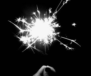 black and white, sparklers, and bright image