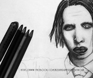 black and white, traditional art, and Marilyn Manson image