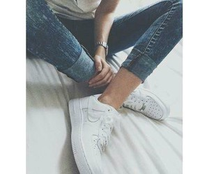 nike, jeans, and white image