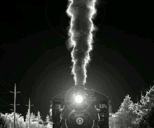 black and white and train image