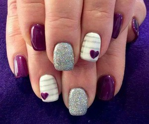 nails, heart, and purple image