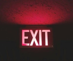 exit, red, and header image