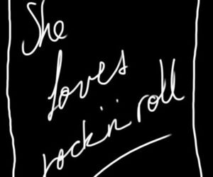 black and white, rock n roll, and text image