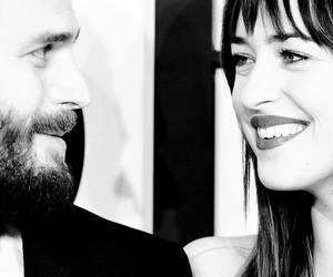 black and white, couple, and Jamie Dornan image