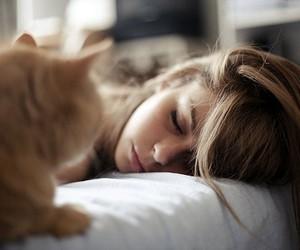 girl, cat, and sleep image