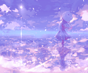 anime, water, and sky image