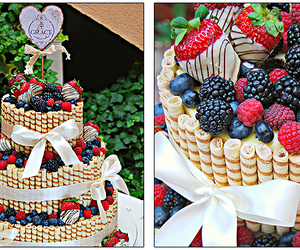cake, nutella, and strawberries image