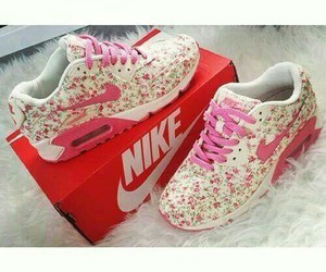 nike, pink, and flowers image