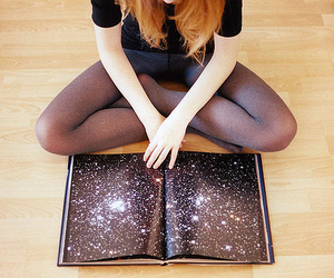 girl, book, and stars image
