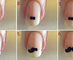 nails, mustache, and manicure image