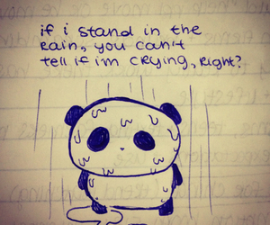 sad, rain, and panda image