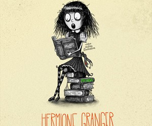 hermione granger, harry potter, and tim burton image