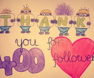 drawing, minions, and thank you image