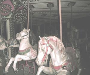 carousel, grunge, and horse image