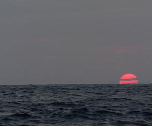 ocean, sun, and sunset image