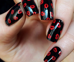 black, nails, and Valentine's Day image