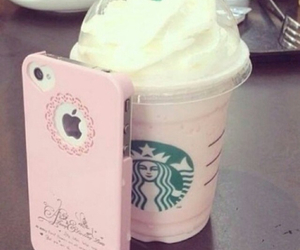 starbucks, pink, and iphone image