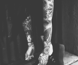 tattoo, girl, and black image