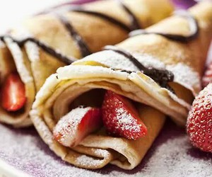 chocolate, pancakes, and strawberries image