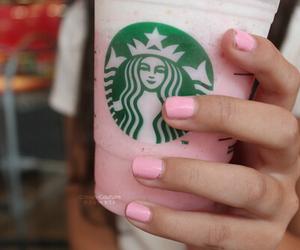 starbucks, pink, and nails image