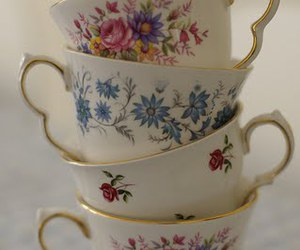 cup, floral, and flowers image