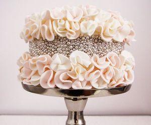 cake, wedding, and silver image