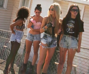 girl, shorts, and friends image