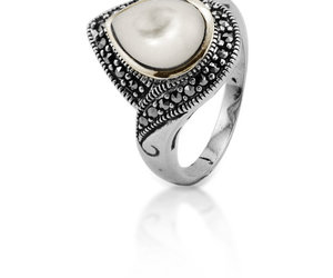 shell, sterling silver, and vintage ring image