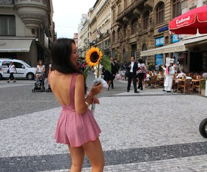 girl, sunflower, and dress image