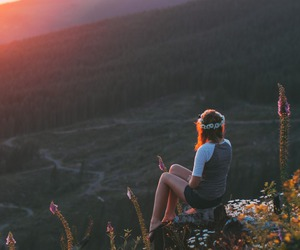 flower crown, sunrise, and girl image