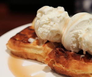 food, waffles, and ice cream image