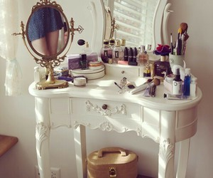 beauty, room, and make up table image