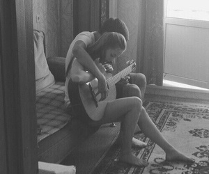 black, couple, and guitar image