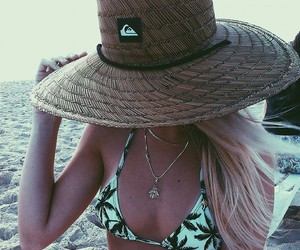 beach, hat, and quiksilver image