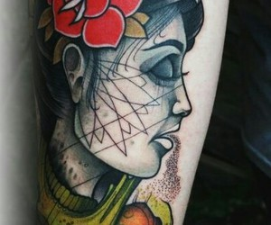 ink, portrait, and tattoo image